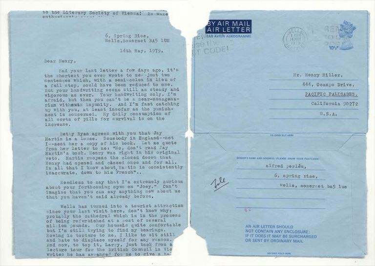 TYPED BLUE AIRMAIL LETTER FROM ALFRED PERLES, Henry Miller, Alfred Perlès.