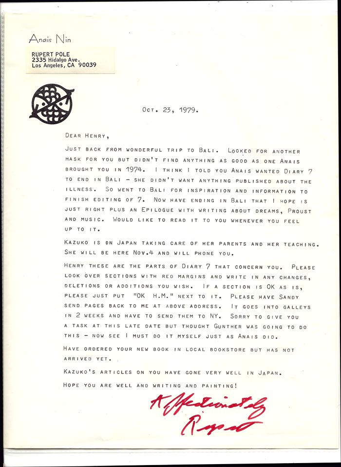 EXCELLENT 1 PAGE TLS FROM RUPERT POLE ON ANAIS NIN'S PRINTED LETTERHEAD Oct. 25, 1979. Henry Miller, Rupert Pole.