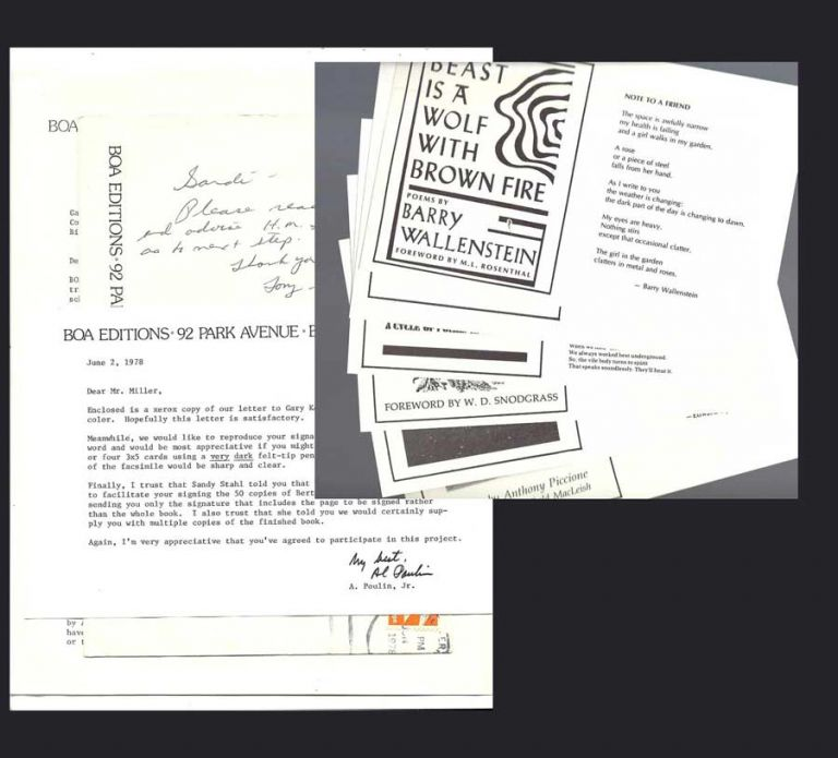 ONE PAGE TLS FROM BOA EDITIONS, with 6 PROMOTIONAL INSERTS, June 2nd, 1978. Henry Miller, Jr. of BOA Editions A. Poulin.