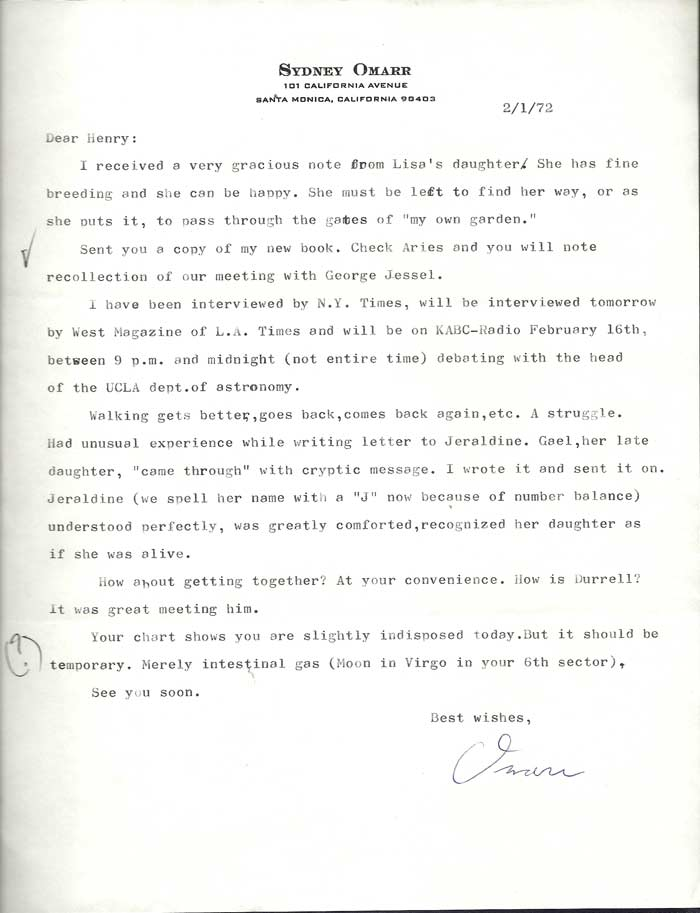 SMALL ARCHIVE OF 6 TYPED LETTER FROM SYDNEY OMARR TO HENRY MILLER, 1965 -1977. Henry Miller,...