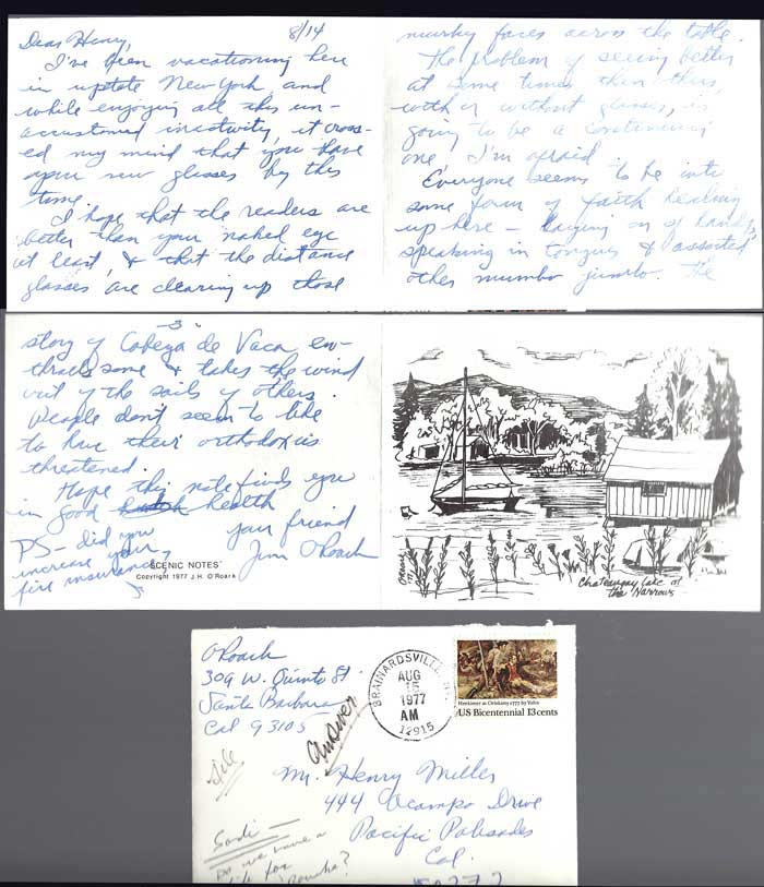 THREE PAGE FOLDED ALS FROM JIM O'ROARK, [Miller's Eye Doctor] 14 / 08 [77] to Henry Miller. Henry Miller, J. H. O'Roark.