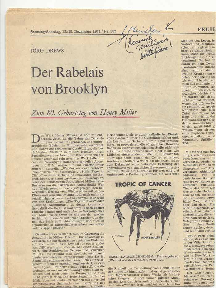 "NEWSPAPER STORY ""DER RABELAIS VON BROOKLYN"" IN GERMAN with Miller's Holograph Note. Henry Miller."
