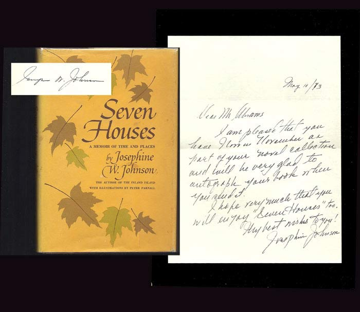 SEVEN HOUSES; A Memoir Of Time And Places. Signed. Josephine Johnson.