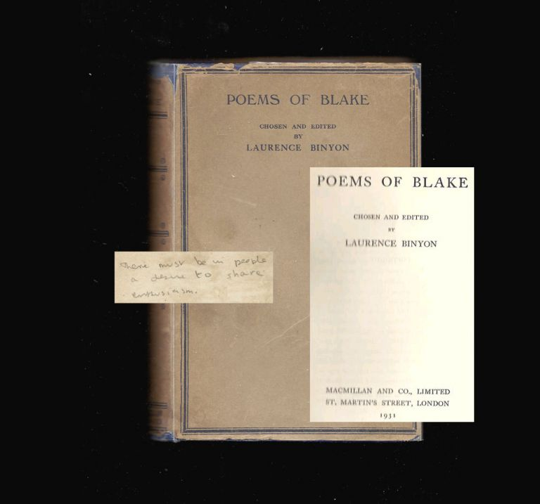 POEMS OF BLAKE. Edited by Laurence Binyon. Ex Libris Composer Daniel Jones [& Dylan Thomas]. Dylan Thomas, Daniel Jones.
