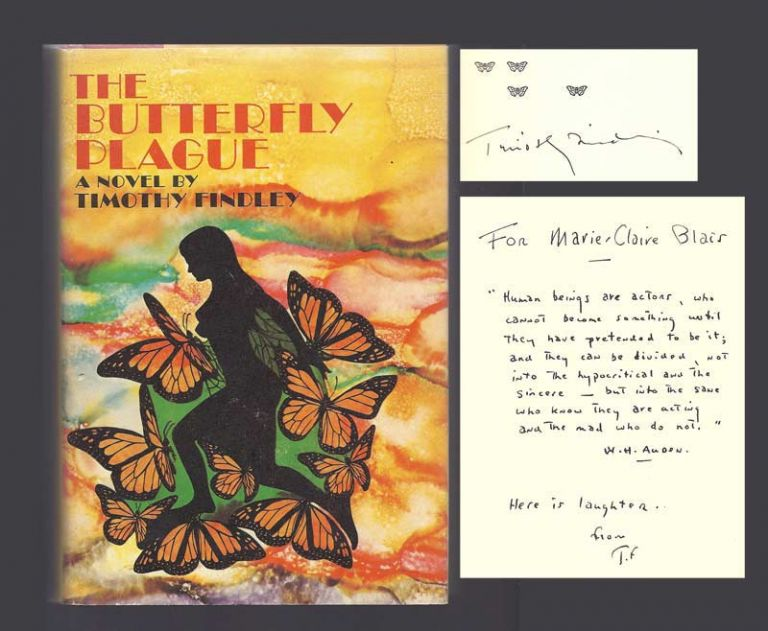 THE BUTTERFLY PLAGUE. Inscribed. Timothy Findley.