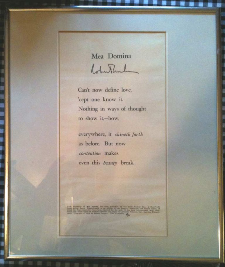 MEA DOMINA. Signed Broadside. Robert Creeley
