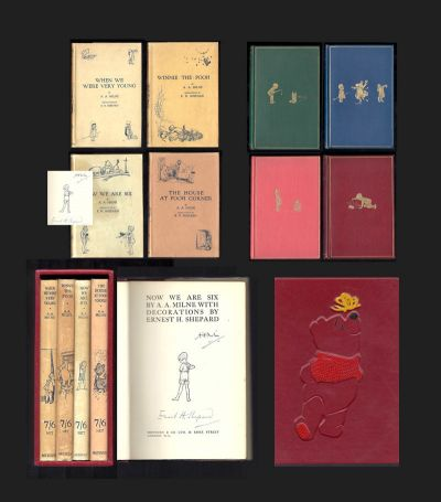 THE POOH BOOKS: WHEN WE WERE VERY YOUNG; WINNIE-THE-POOH; NOW WE ARE SIX; THE HOUSE AT POOH CORNER. Signed. A. A. Milne.