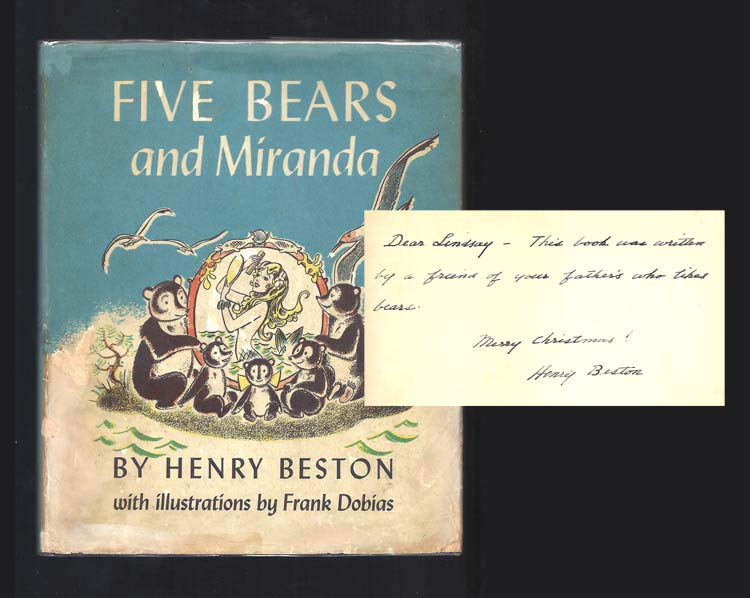 FIVE BEARS AND MIRANDA. Inscribed. Henry Beston