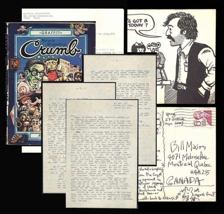 "SMALL BUT SIGNIFICANT ARCHIVE REGARDING THE TRANSLATION OF THE ""CRUMB"" BIOGRAPHY. Robert Crumb, Alessandrini Spiegelman, Mason."