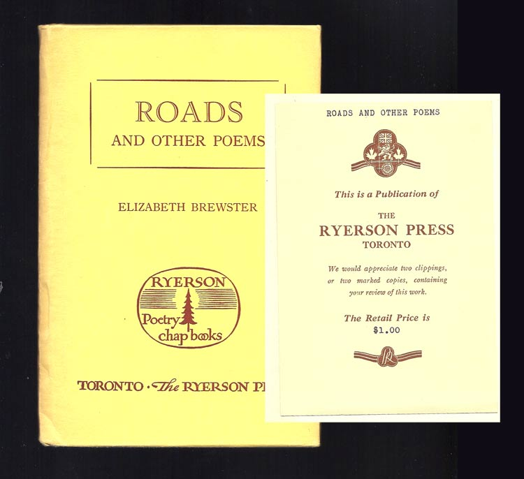 ROADS AND OTHER POEMS. Review Copy. Elizabeth Brewster