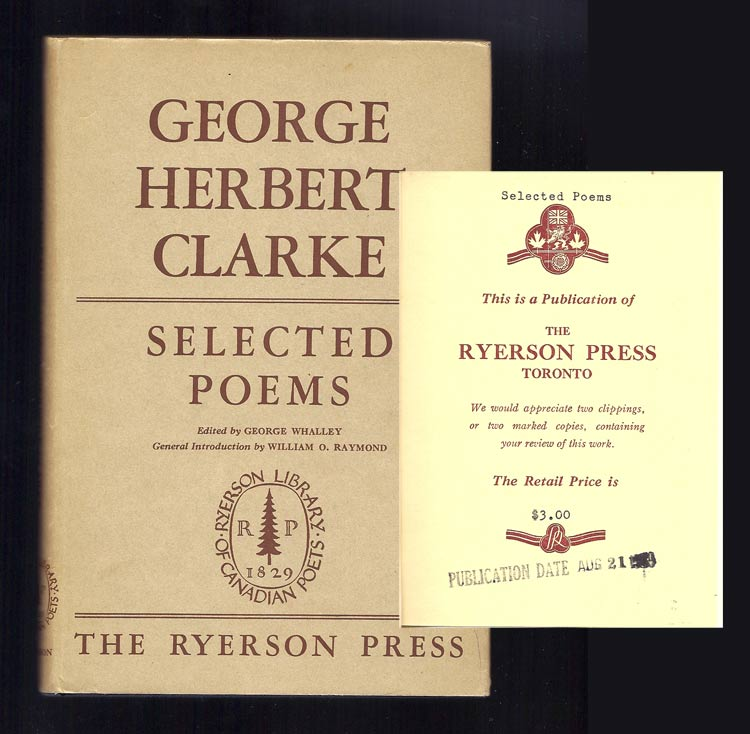 SELECTED POEMS. Review Copy. George Herbert Clarke.