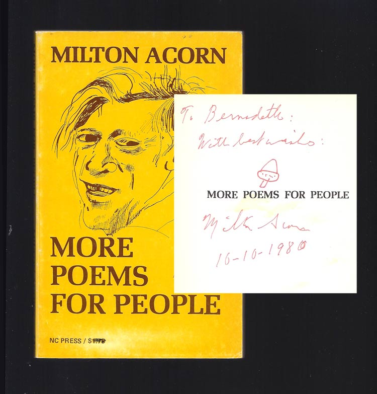 MORE POEMS FOR PEOPLE. Signed. Milton Acorn