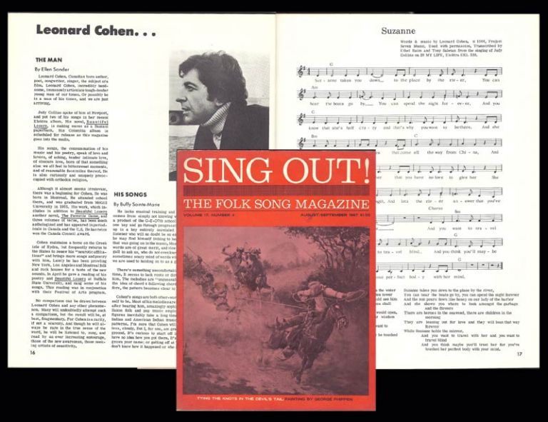 """Suzanne"" in: SING OUT. The Folk Song Magazine. Leonard Cohen"