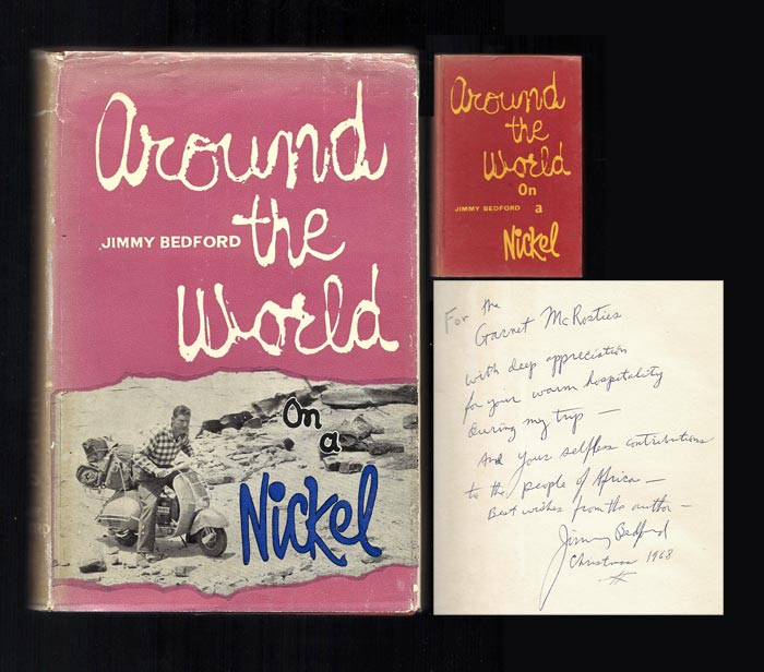 AROUND THE WORLD ON A NICKEL. Inscribed. Jimmy Bedford