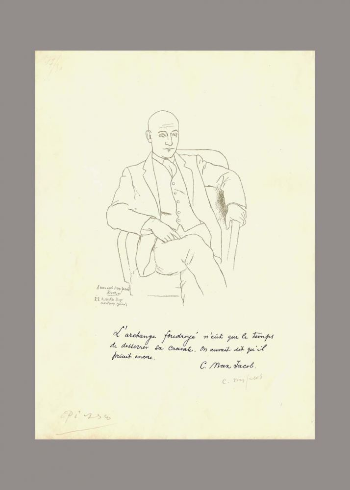 MAX JACOB. Double Signed Litho. Picasso. Max Jacob.