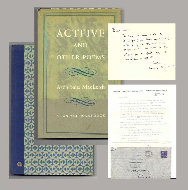 ACTFIVE AND OTHER POEMS. Signed. Archibald MacLeish