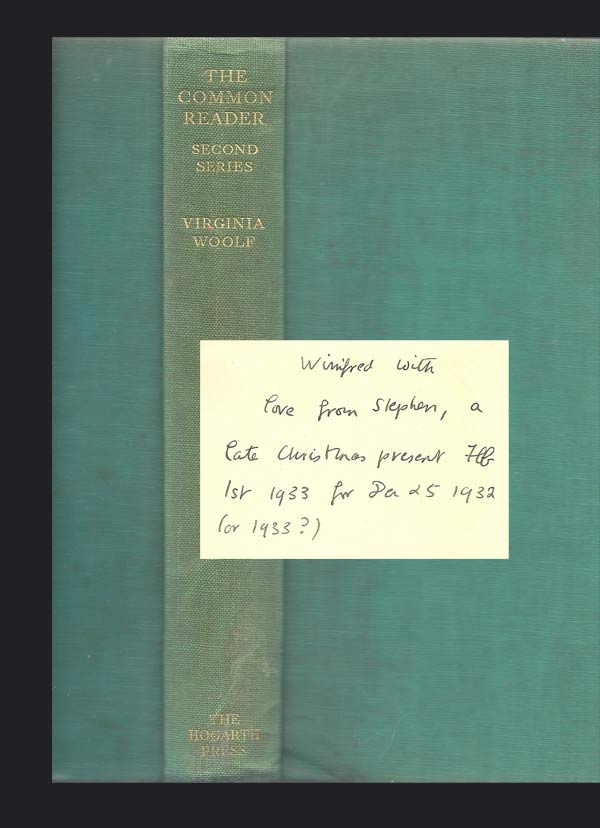 THE COMMON READER: SECOND SERIES. Inscribed By Stephen Spender. Virginia Woolf