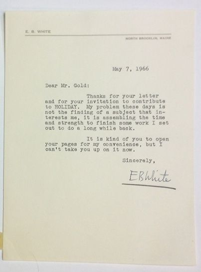 Typed Letter Signed. E. B. White