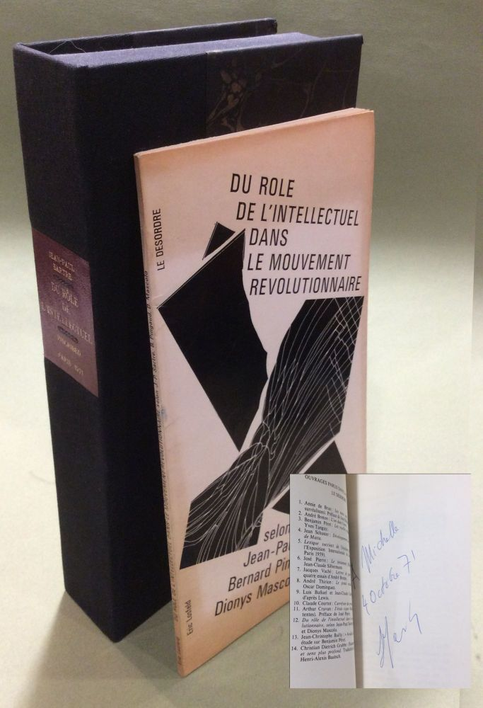 DU ROLE DE l'INTELLECTUEL DANS LE MOUVEMENT REVOLUTIONNAIRE. Signed. Jean-Paul Sartre, Bernard,...