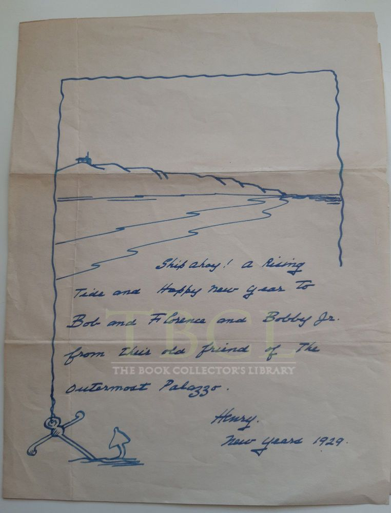 A RARE FIND - FROM TBCL'S PRIVATE BESTON COLLECTION. Early 1929 drawing and personal greeting by...