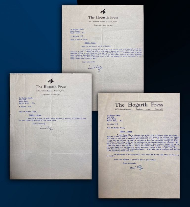 Three typed letters signed by Leonard Woolf as head of the Hogarth Press to Sigmund Freud's son...