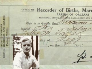 Truman Capote's original Birth Certificate. [ In Cold Blood, Breakfast At Tiffiny's. A Christmas Memory].
