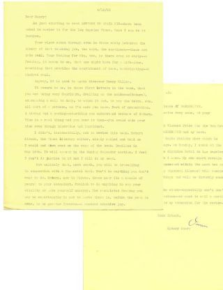 SMALL ARCHIVE OF 6 TYPED LETTER FROM SYDNEY OMARR TO HENRY MILLER, 1965 -1977