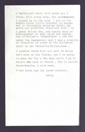 13 TLS, 1 ALS FROM LAURENCE DURRELL TO HENRY MILLER, 1975-1979.