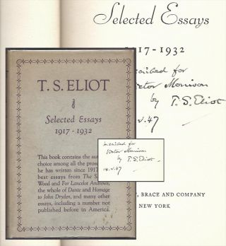 SELECTED ESSAYS 1917-1932. Inscribed.