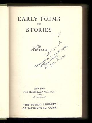 EARLY POEMS AND STORIES. Signed.