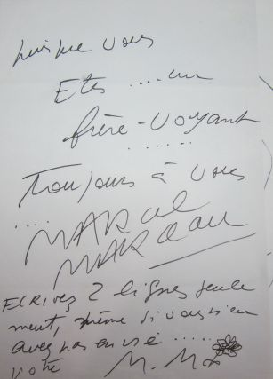 Marceau, Marcel. [Henry Miller]. Autographed & Illustrated Letter Signed. [SMILE AT THE FOOT OF THE LADDER]